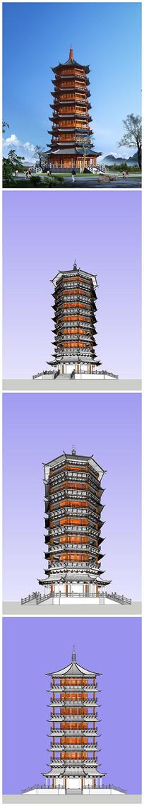 宝塔草图模型