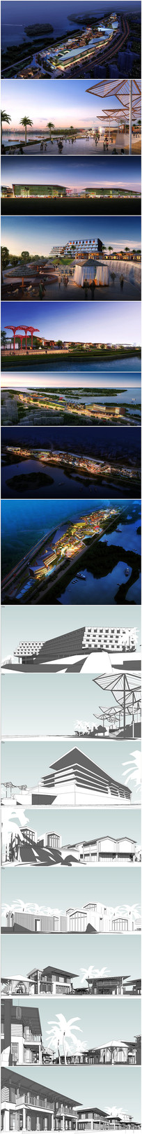 滨水商业街区草图模型加效果图