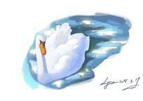 单只天鹅手绘水彩分层插画 PSD