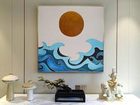 原创新款云纹日出艺术装饰油画