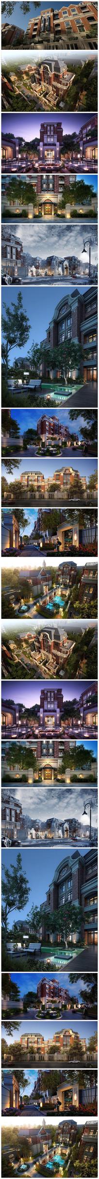 北美风格别墅效果图草图模型
