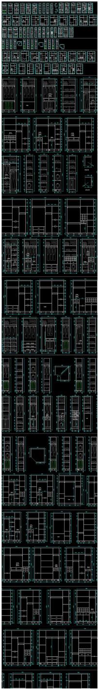 标准板式衣柜cad结构图库