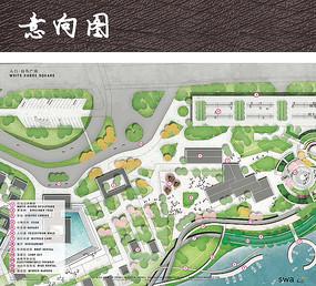 滨水公园入口景观平面图
