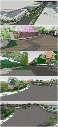 道路升级提升景观SU模型