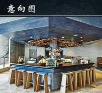 多边形餐厅吧台 JPG