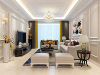简约风格客厅设计3D模型