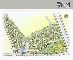 绿洲别墅景观彩平图