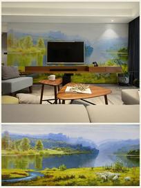牧羊田园风景油画艺术背景壁画