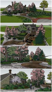 欧式别墅景观规划SU模型