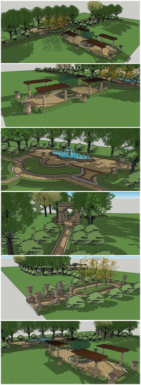 欧式轴景观节点设计SU模型