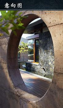 园林石头墙建筑