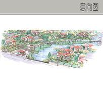 住宅楼景观手绘透视图