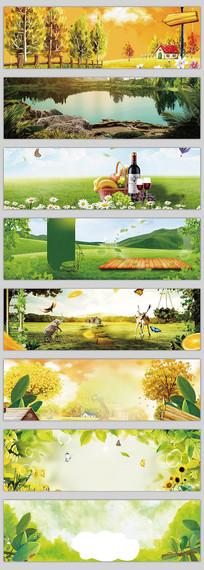 春天自然清新电器数码海报背景