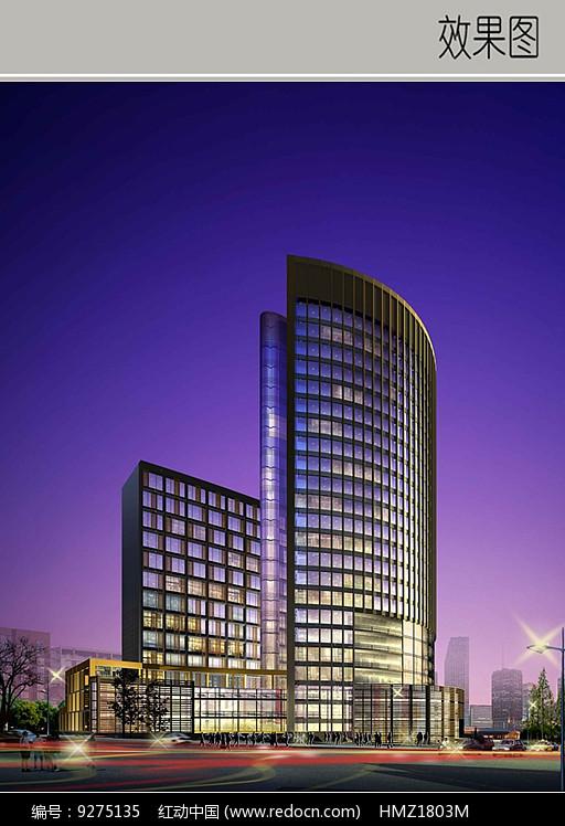 玻璃建筑效果图_高层玻璃建筑酒店效果图_红动网