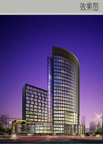 高层玻璃建筑酒店效果图