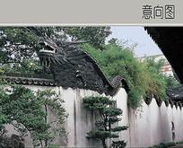 龙雕刻围墙屋檐
