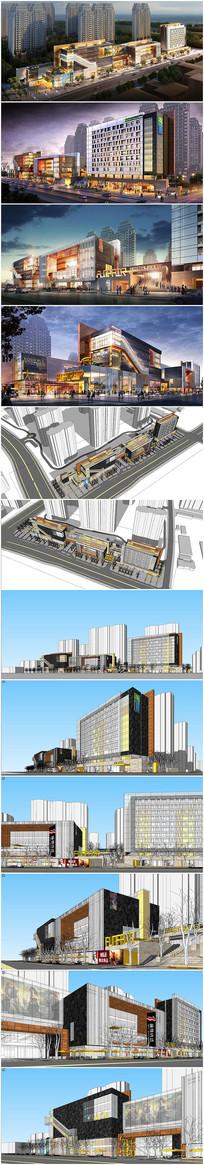 牡丹花商业街区模型及效果图