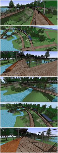 生态湿地栈道廊架SU模型