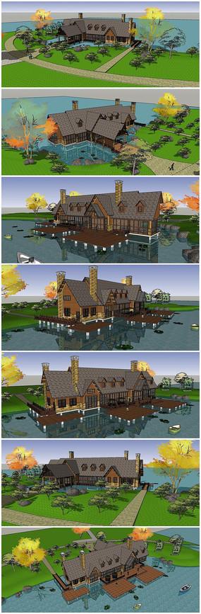 水上度假村景观建筑SU模型
