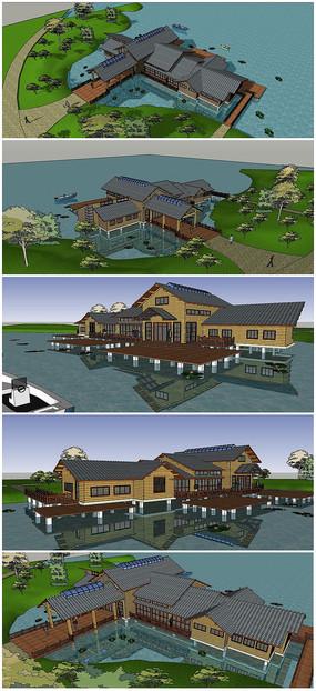 水上中心度假村建筑SU模型