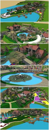 私人山庄滨水景观建筑SU模型