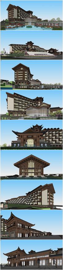 桃花源酒店中市商业SU模型