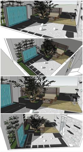 天台花园景观SU模型