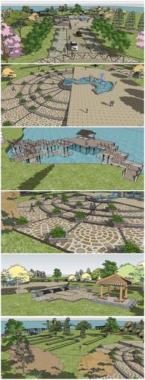 中式景观湖畔广场SU模型