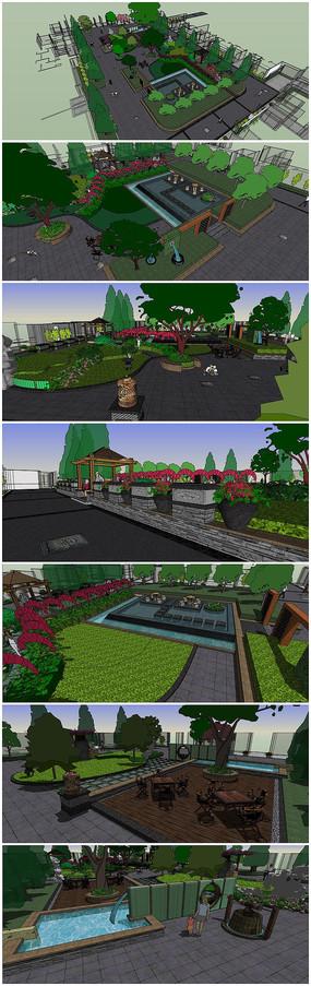 中心景观游园景观SU模型