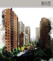 住宅楼景观效果图
