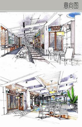 餐厅廊道设计手绘图