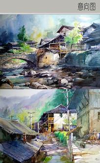 村庄风景手绘图 JPG