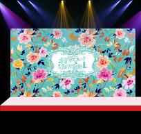 粉色花卉婚礼花墙背景设计