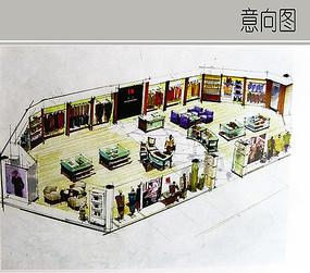 服装店专卖设计手绘图