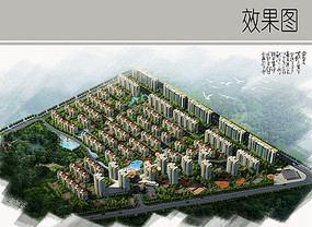 高层住宅区景观鸟瞰图