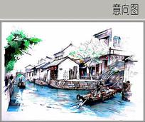 古镇水景手绘图 JPG
