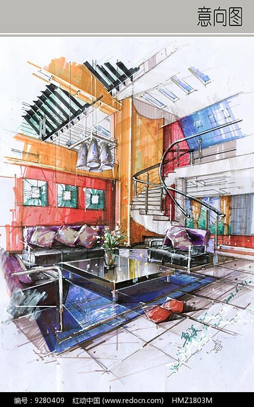 两层住宅室内客厅手绘图