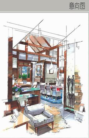 美式餐厅室内手绘图