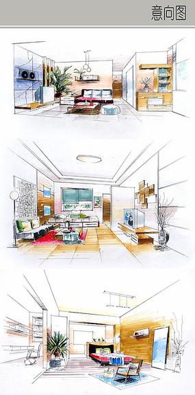 现代室内装修手绘图