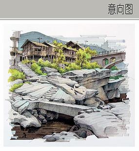 乡村风景手绘图