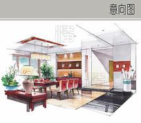 中式餐厅室内效果图