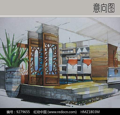 中式酒楼室内手绘图