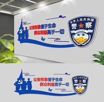 蓝色警察部队长廊文化墙