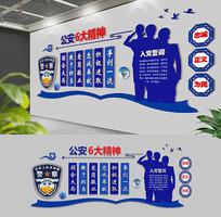 蓝色警察精神通用大气文化墙