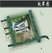 大学展览馆方案鸟瞰平面