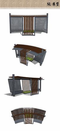 公园廊架模型