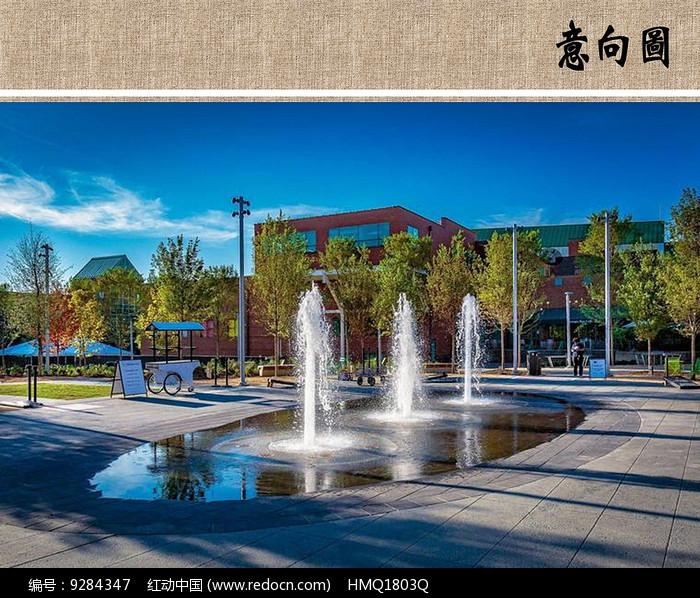 广场喷泉意向图图片