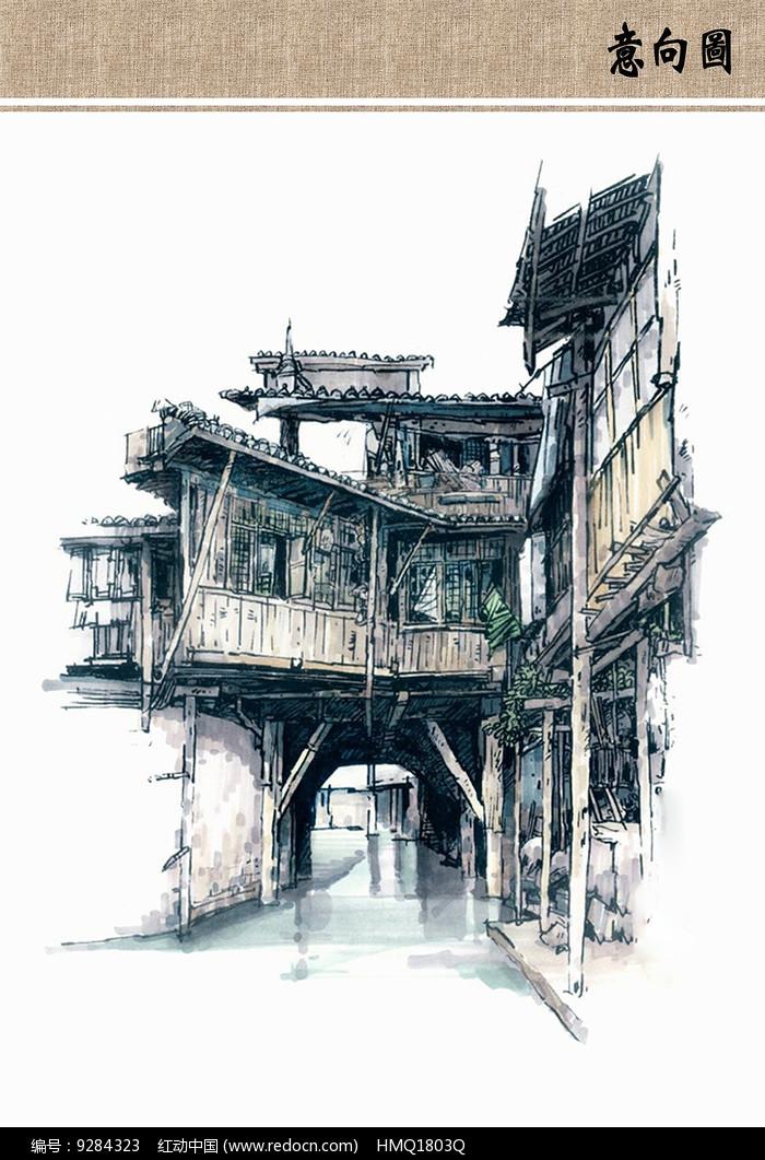 原创设计稿 方案意向 手绘素材 古镇写生