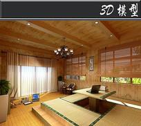 韩式风格榻榻米卧室3D模型