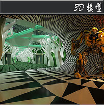 黑白三角造型科技馆3D模型